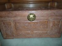Beautiful Camphor Wood Chest in Good Condition, Lovely Hand Carvings