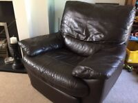 Brown Leather electric recliner & leather storage foot stool in v good condition with free sofa
