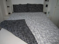 Double - black and white squiggle Quilt cover set