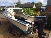 Cheap fishing boat 40 Hp electric start auto fuel mix. 14ft
