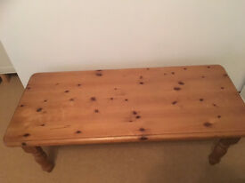 Pine coffee table, rectangular, heavy and solid wood, perfect for upcycling