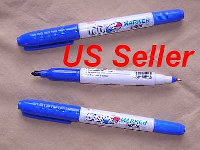 Lot Of 3 Blue Cd Dvd Twin Tip Markers 3 Blue High Quality Us Seller