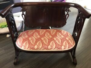 Rare Antique Parson's Bench - Ornately Caved Collector's Item