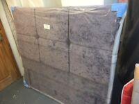 BRAND NEW Crushed velvet floor standing headboard, 5' King size, £135.