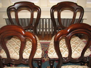 Antique Mahogany Balloon Back Dining Chairs, Carved, Set of 4 Kitchener / Waterloo Kitchener Area image 2