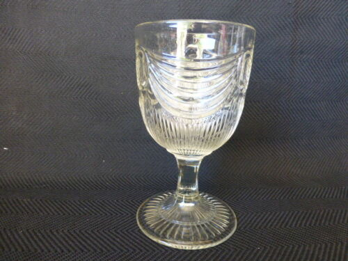 Antique Flint Lincoln Drape Early American Pattern Glass Goblet # 4