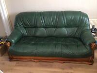 3 piece Italian green leather lounge suite