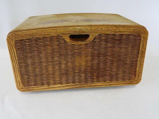 Vintage Metal Bread Box Basket Weave Front Mid-Century