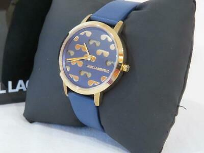 Women's Karl Lagerfeld Gold Tone Watch Navy Dial & Band