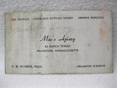 Mac's Apiary Arlington Mass C W McInnis Business Card Vintage Bee Keeping
