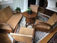 Antique (100 yr old) Balinesian Coffee Table, Chairs and Love Seat