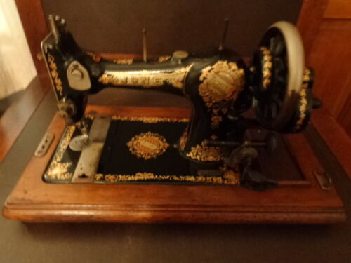 *JONES* HAND CRANK SEWING MACHINE*EARLY 1900s VIBRANT COLORS
