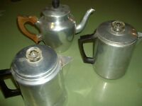 VINTAGE COFFEE POTS AND KETTLE