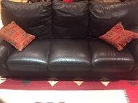 Dark brown 3 seater leather sofa. Used,in good condition and comfortable! Free.