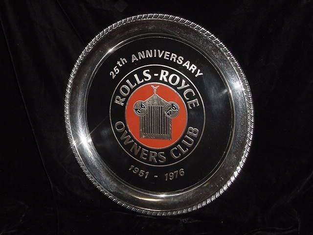 ROLLS ROYCE 25 TH ANNIVERSARY  OWNERS CLUB SILVER PLATTER