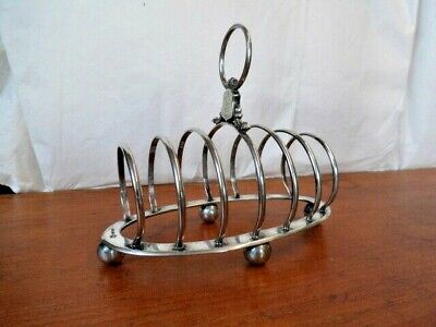 Silver Plated Toast Rack Art Deco English 1930s Medium 6 Slices Unusual Oval Handle