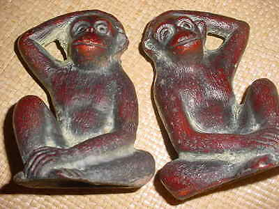 ANTIQUE CAST IRON MONKEY BOOK ENDS ESTATE  PCS. AS FOUND
