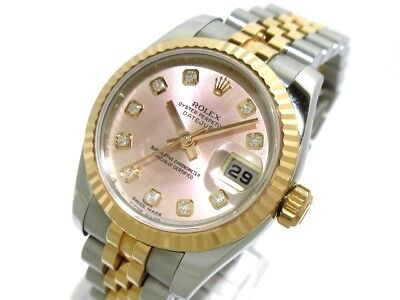 Auth ROLEX Datejust 179171G Pink Silver 18K Rose Gold Z616416
