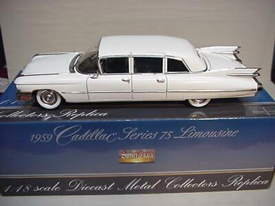 CADILLAC FLEETWOOD  LIMOUSINE WHITE 1959 PRECISION MINIATURES 1/18 NICE CAR GM