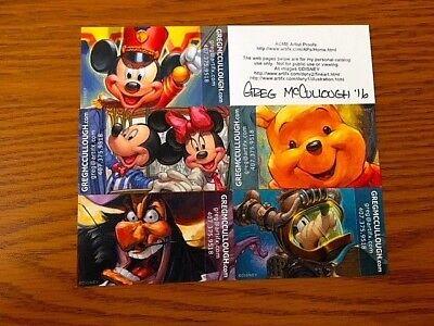 Disney Artist GREG McCULLOUGH Card Prints Mickey, etc. Set of 6 (1) AUTOGRAPHED