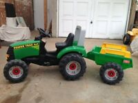 For sale a child's toy tractor made from top quality resistant plastic in near new condition