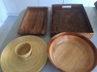 Wicker & Wooden Serving Trays / Platters