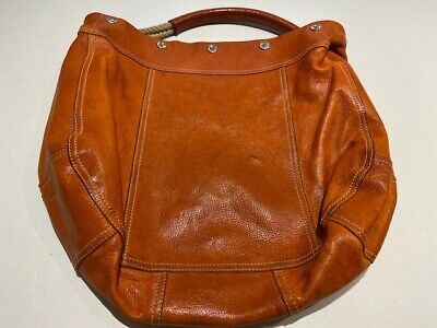 PRADA vintage orange leather bag with rope handle