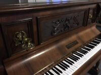 Piano - lovely upright John Brinsmead & Sons Piano with candle holders area Guildford