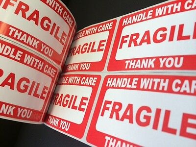 100 2x3 Fragile Stickers Handle With Care Plus 15 Orange Thank You Stickers Ship