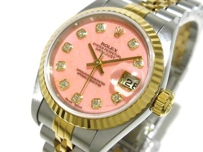 Auth ROLEX Datejust 791730PG Silver 18K Yellow Gold Women