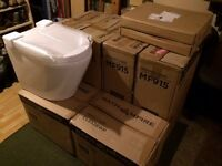 Soak Bath Empire White Toilet Furniture, 3x Lyon Toilet Bowl, 3x Seat, 4x Unit