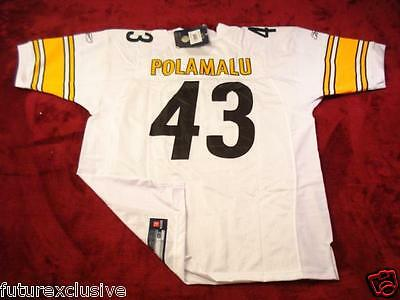 #43 TROY POLAMALU PITTSBURGH STEELERS Aumua WHITE NFL SEWN JERSEY - CHOOSE SIZE