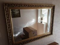 LARGE FRAMED MIRROR WITH CHUNKY GOLD/BRONZE FRAME