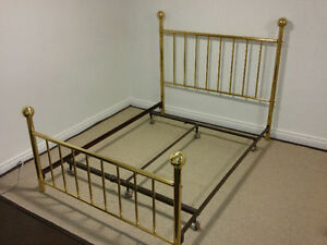 Queen Brass Headboard and Footboard with Frame Kitchener / Waterloo Kitchener Area image 1