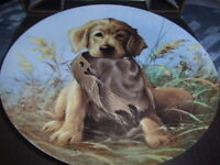 Caught in the Act - The Golden Retrievers Plate by Lynn Kaatz