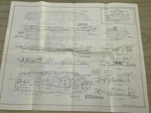 Ships Plans American Whaler Kate Cory 1856 detailed drawings large old sheets