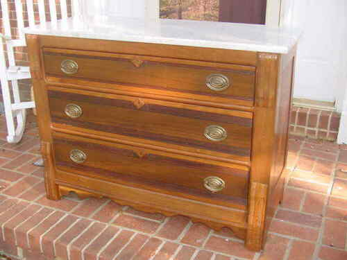 "Antique J H Bissell Furniture 3 Drawer Chest Marble Top Belmont NY 40""x16""x31"""
