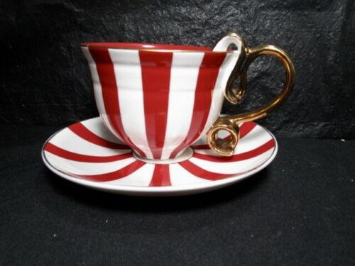 Beautiful   GRACE  Red Striped Pattern   Cup and Saucer