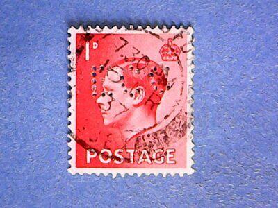 """GB. KEVIII 1936 1d Scarlet. SG458. Wmk W125. P15 x 14. Used. """"ECC"""" perfin."""