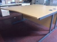 Great Condition 1600mm x 1000mm Office Cantilever Wave Desk with Porthole