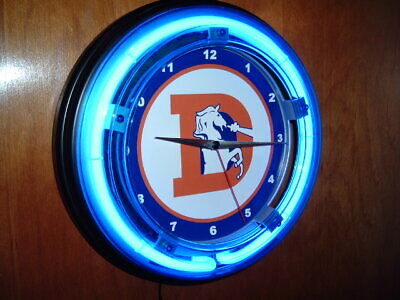 Denver Broncos Neon Clock (Denver Broncos Throwback Football Man Cave Blue Neon Wall Clock Sign )