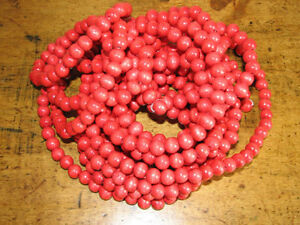 Vintage Wooden Cranberry Red Beaded Christmas Tree Garland Rope
