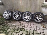 Set of alloy wheels ; 4 reasonable tyres ; 5 Bolts ; fits Astra /Leon ; one in need of cleaning