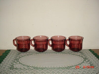 """4-PIECE PURPLE-AMETHYST GLASS """"COFFEE CUPS"""" WITH HANDLES/MEXICO/FREE SHIP!"""