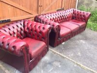 Oxblood Chesterfield 3 seater and club chair!!!! Very good condition