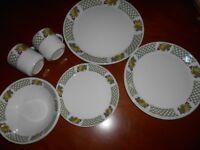 Dinner Set for 2 - Crockery Plates Bowls Mugs Set -Fruit Design -Retro!