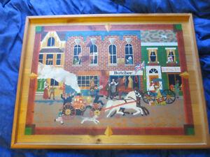 Vtg Horse Street Scene Folk Art Painting - Whimsy - Take a look!