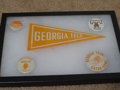 Georgia Tech 4 vintage Pin Buttons Gator/Peach Bowl and Mini Pennant with -