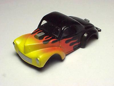 MODEL MOTORING T-JET FLAMED WILLYS  SLOT CAR BODY