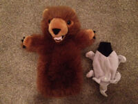 2 Hand Puppets: Elephant, Bear by 'The Puppet Company '